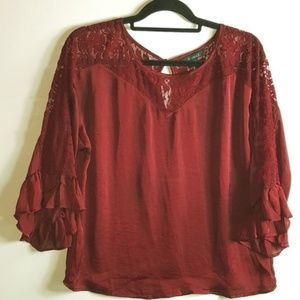 Glance Red Lace Blouse